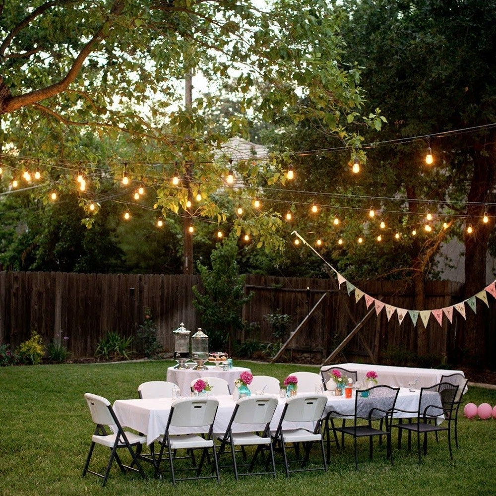 Most Recent 24 Sockets 50Ft Outdoor Light String – Torchstar Inside Hanging Lights For Outdoor Wedding (View 13 of 20)