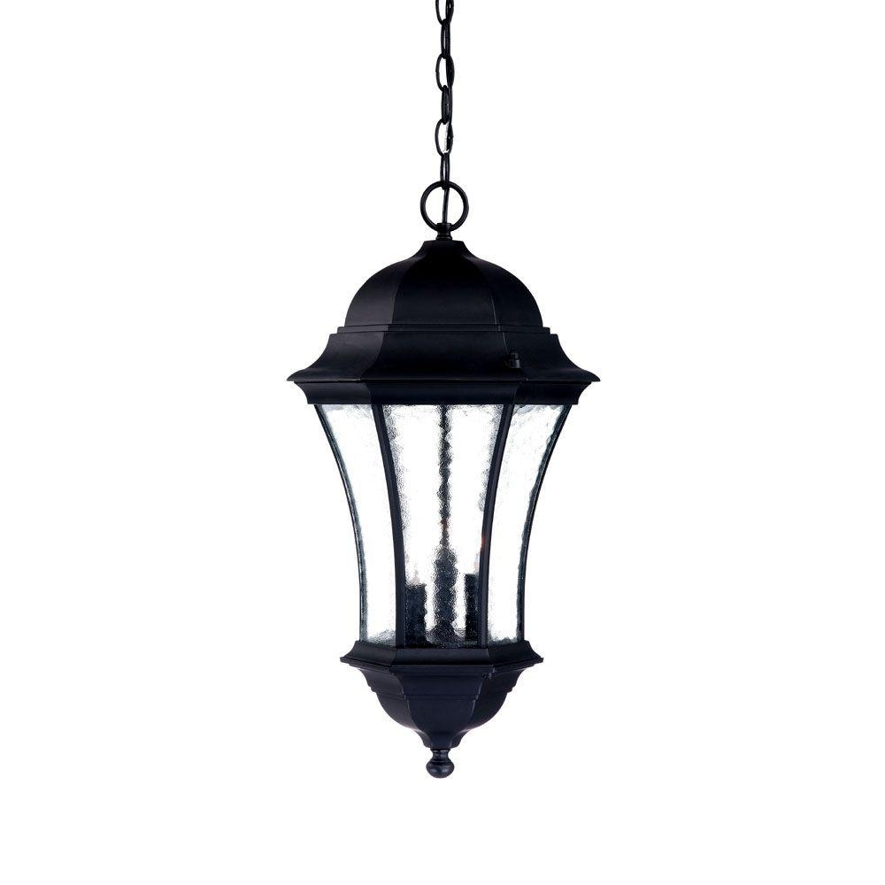 Most Recent Hanging Outdoor Onion Lights Pertaining To Acclaim Lighting Waverly Collection 3 Light Matte Black Outdoor (View 16 of 20)