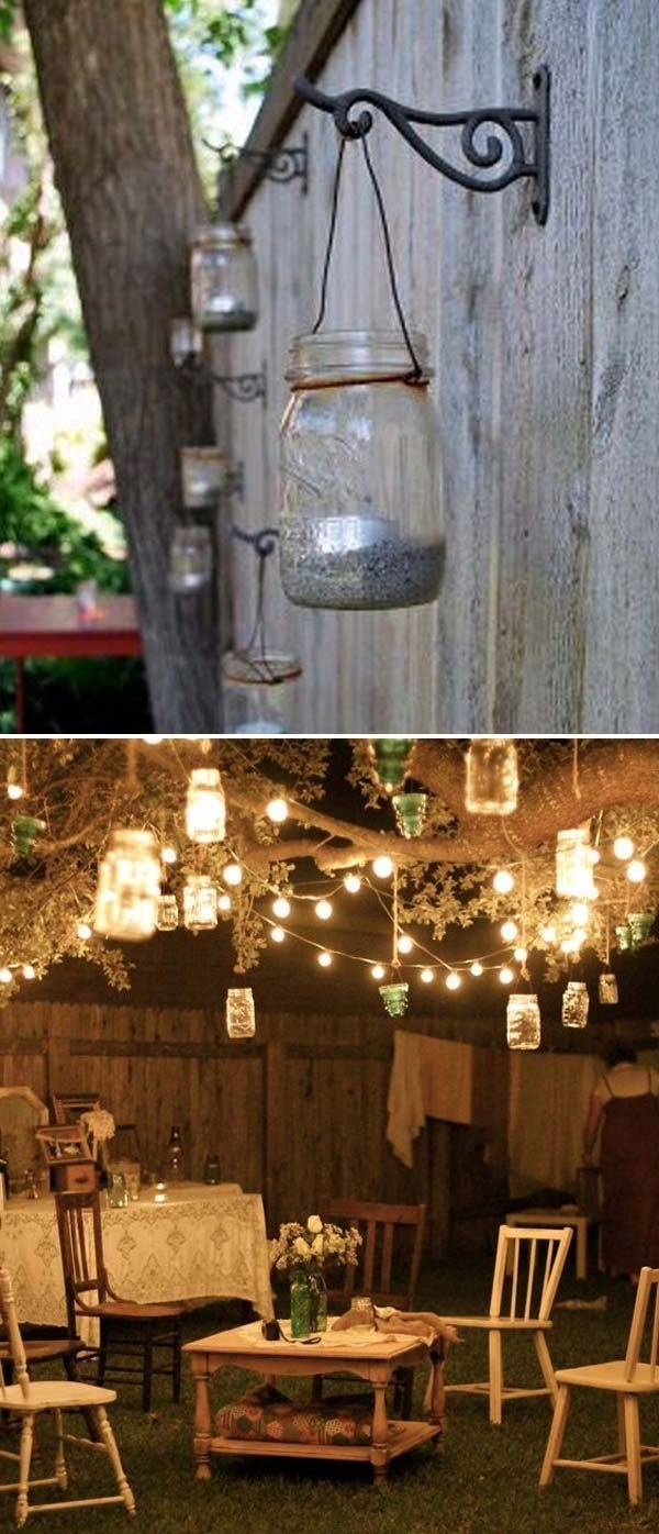 Most Recent Hanging Outdoor Tea Light Lanterns Intended For Adorn Your Backyard Tree With String Lights And Hanging Mason Jar (View 11 of 20)