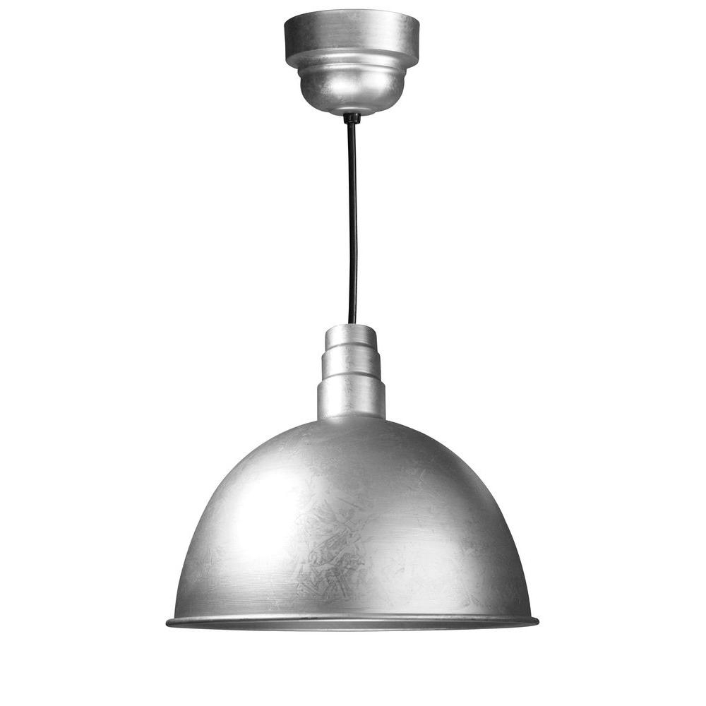 Most Recent Illumine 1 Light Outdoor Hanging Galvanized Deep Bowl Pendant With Inside Galvanized Outdoor Ceiling Lights (View 6 of 20)