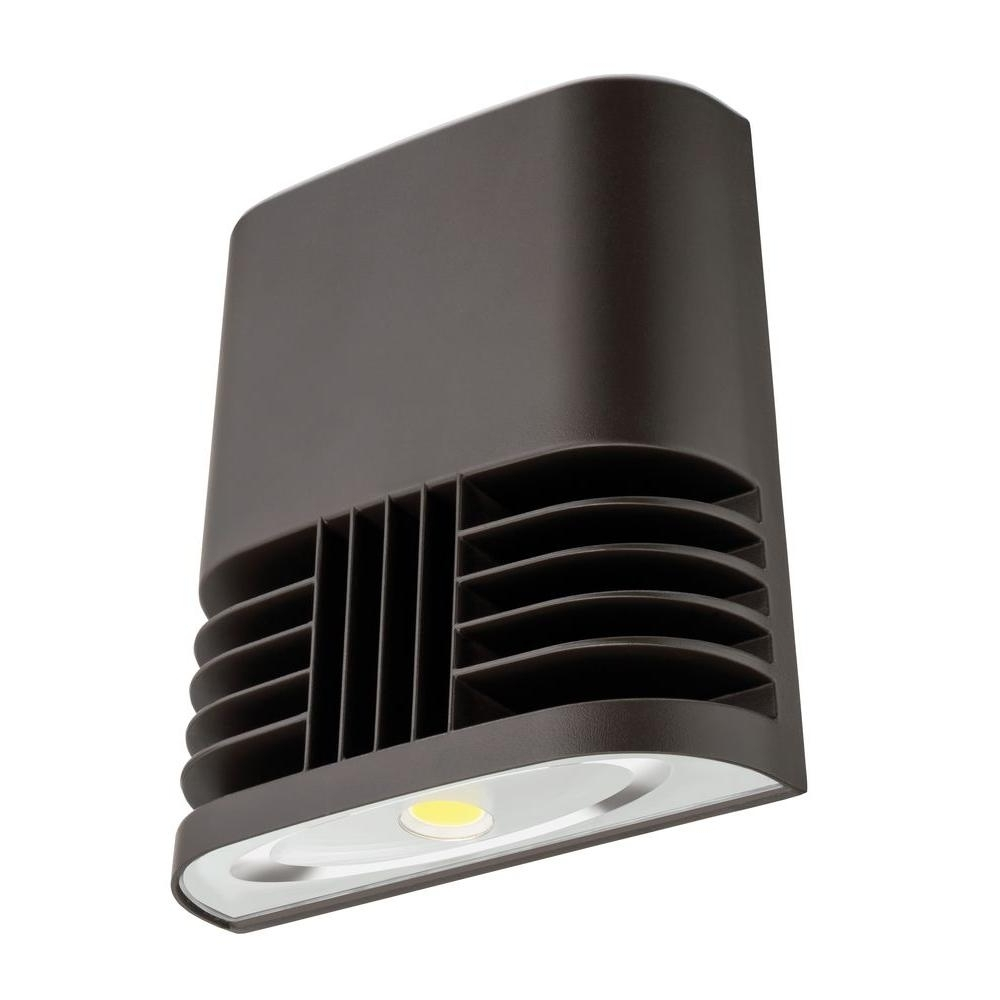 Most Recent Lithonia Lighting Wall Mount Outdoor Bronze Led Floodlight With Motion Sensor In Lithonia Lighting Dark Bronze 20 Watt 5000K Daylight Outdoor Low (View 19 of 20)