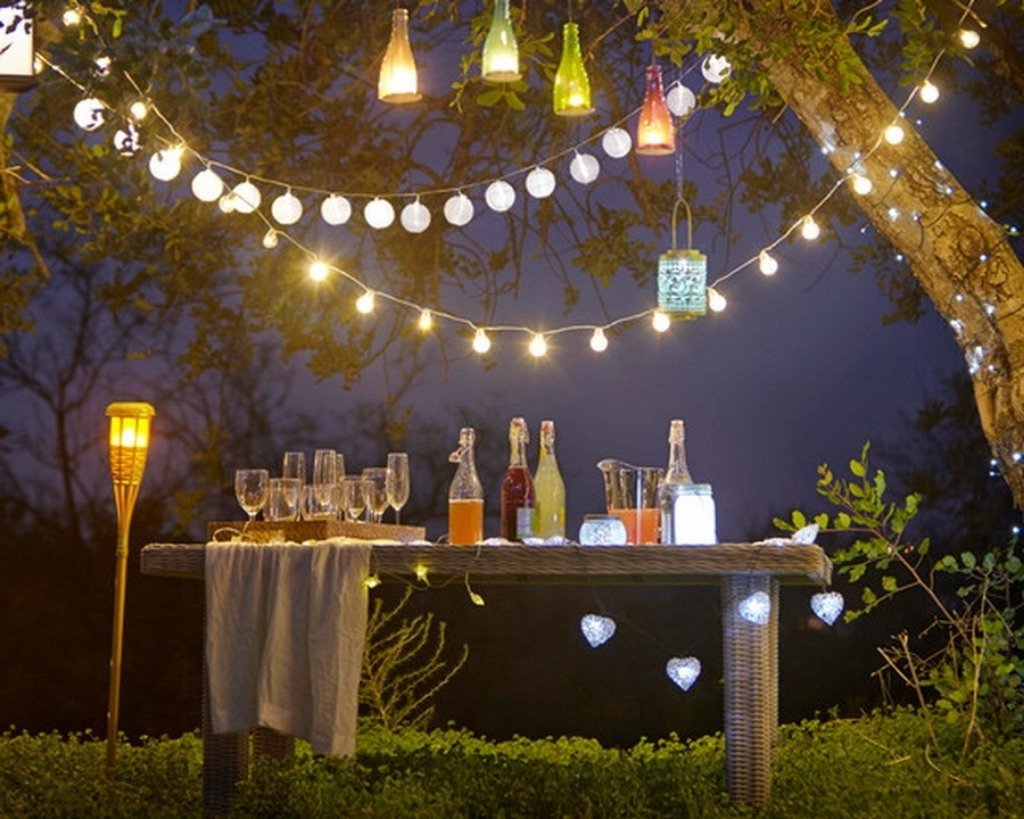 Most Recent Outdoor And Patio: Attractive Outdoor Party Lighting With String In Hanging Lights On An Outdoor Tree (View 19 of 20)