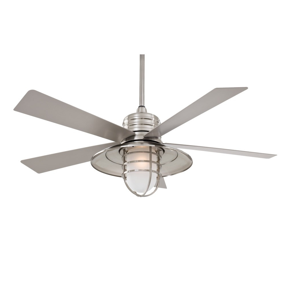 """Most Recent Outdoor Ceiling Fan Lights With Regard To 54"""" Minka Aire Rainman Ceiling Fan – Outdoor Wet Rated – F582 Bnw (View 10 of 20)"""