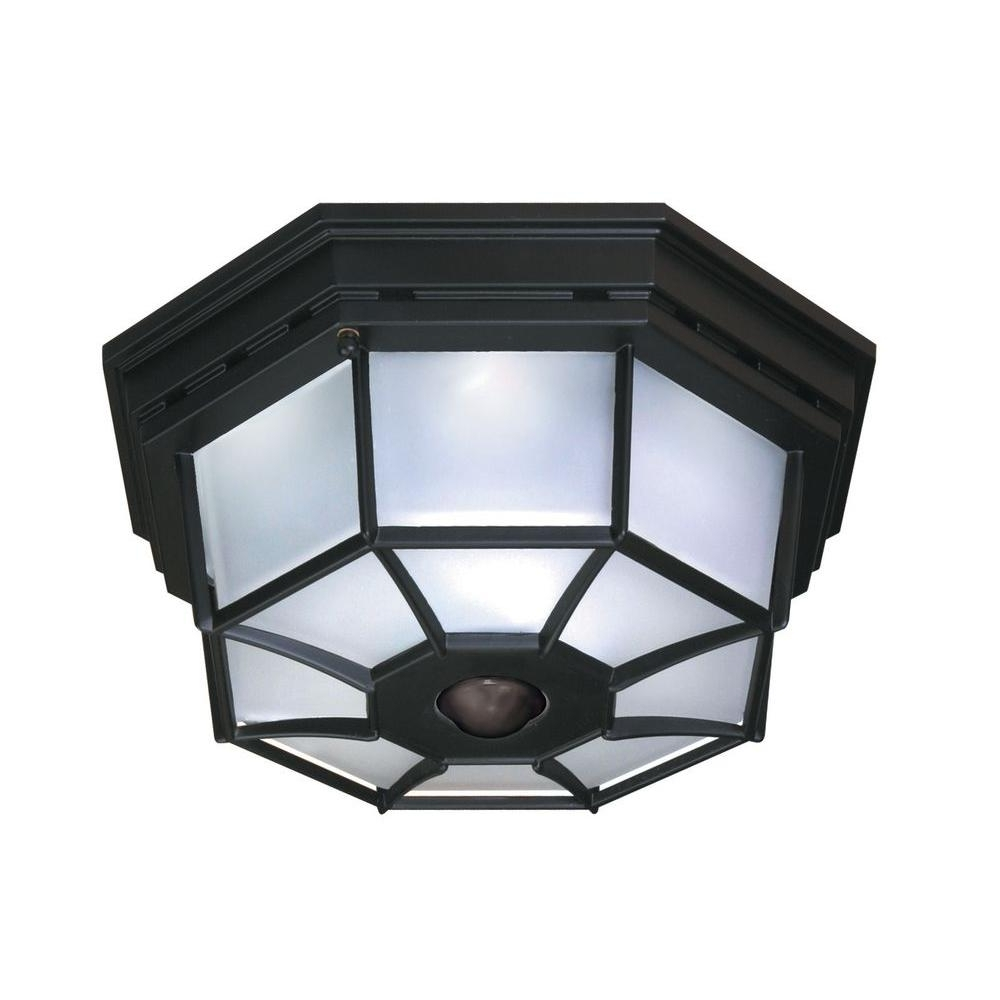 Most Recent Outdoor Ceiling Mounted Security Lights Throughout Heath Zenith 360 Degree 4 Light Black Motion Activated Octagonal (View 6 of 20)