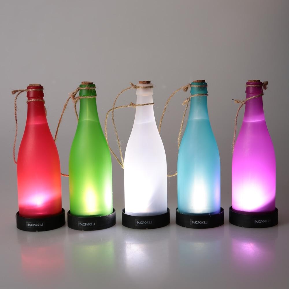 Most Recent Outdoor Hanging Bottle Lights For 5 Pcs/sets Cork Wine Bottle Led Solar Powered Sense Light Outdoor (View 2 of 20)