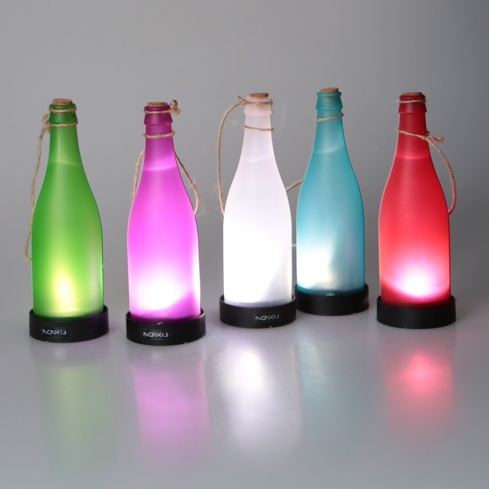 Most Recent Outdoor Hanging Bottle Lights Throughout 5 Pcs/sets Cork Wine Bottle Led Solar Powered Sense Light Outdoor (View 9 of 20)