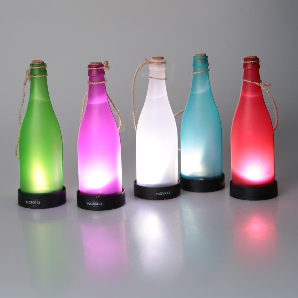 Most Recent Outdoor Hanging Bottle Lights Throughout 5 Pcs/sets Cork Wine Bottle Led Solar Powered Sense Light Outdoor (View 4 of 20)
