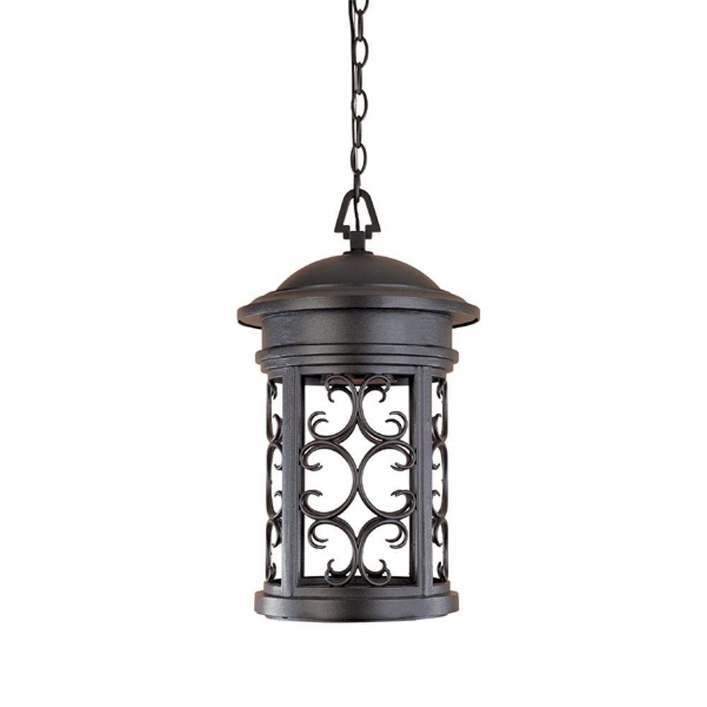 Most Recent Outdoor Hanging Lighting Fixtures At Home Depot Regarding Designers Fountain Chambery Oil Rubbed Bronze Outdoor Hanging Lamp (View 6 of 20)