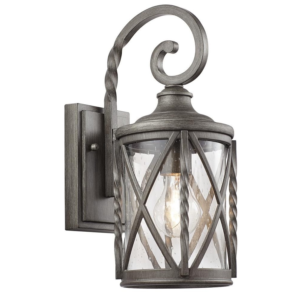 Most Recent Pewter Outdoor Wall Lights Regarding Brushed Nickel / Chrome & Pewter – Outdoor Wall Mounted Lighting (View 7 of 20)