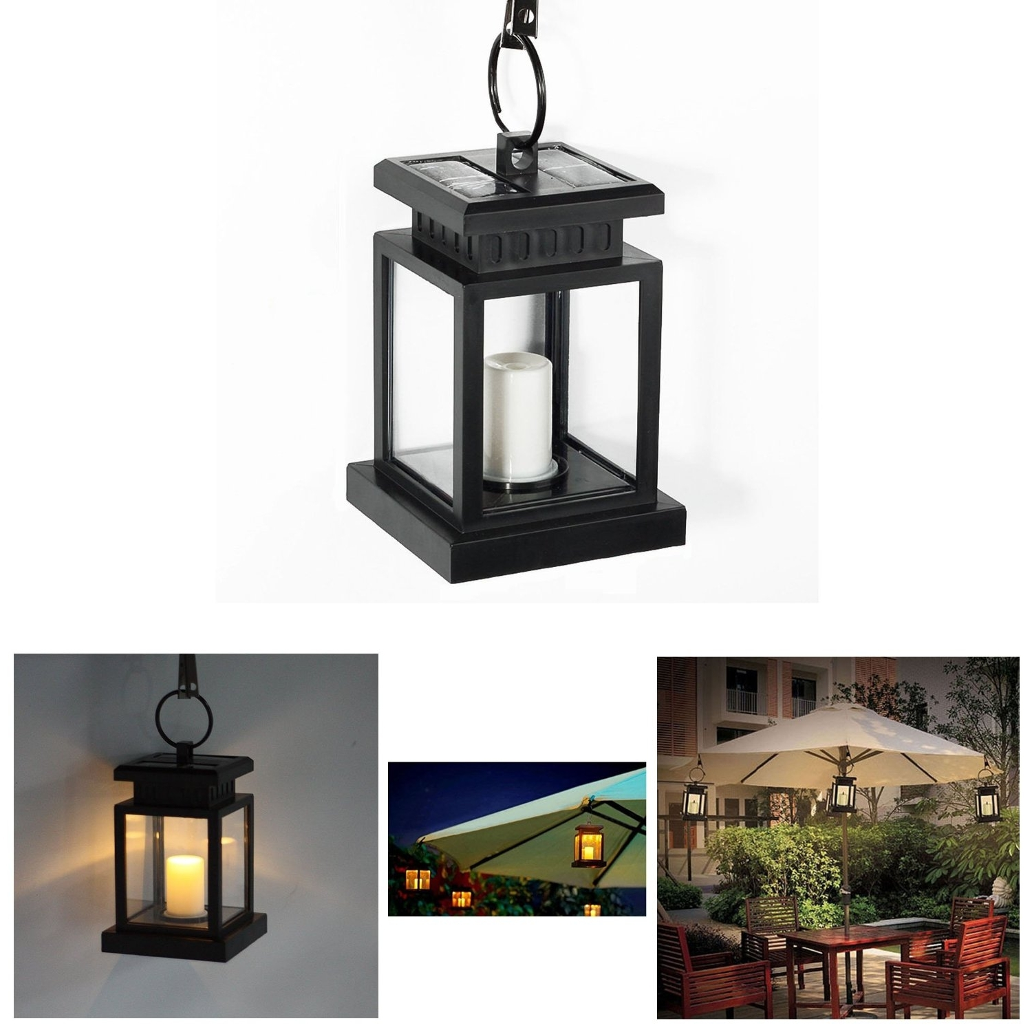 Most Recent Solar Powered Hanging Umbrella Lantern Candle Led Light With Clamp Pertaining To Outdoor Hanging Lanterns Candles (View 4 of 20)