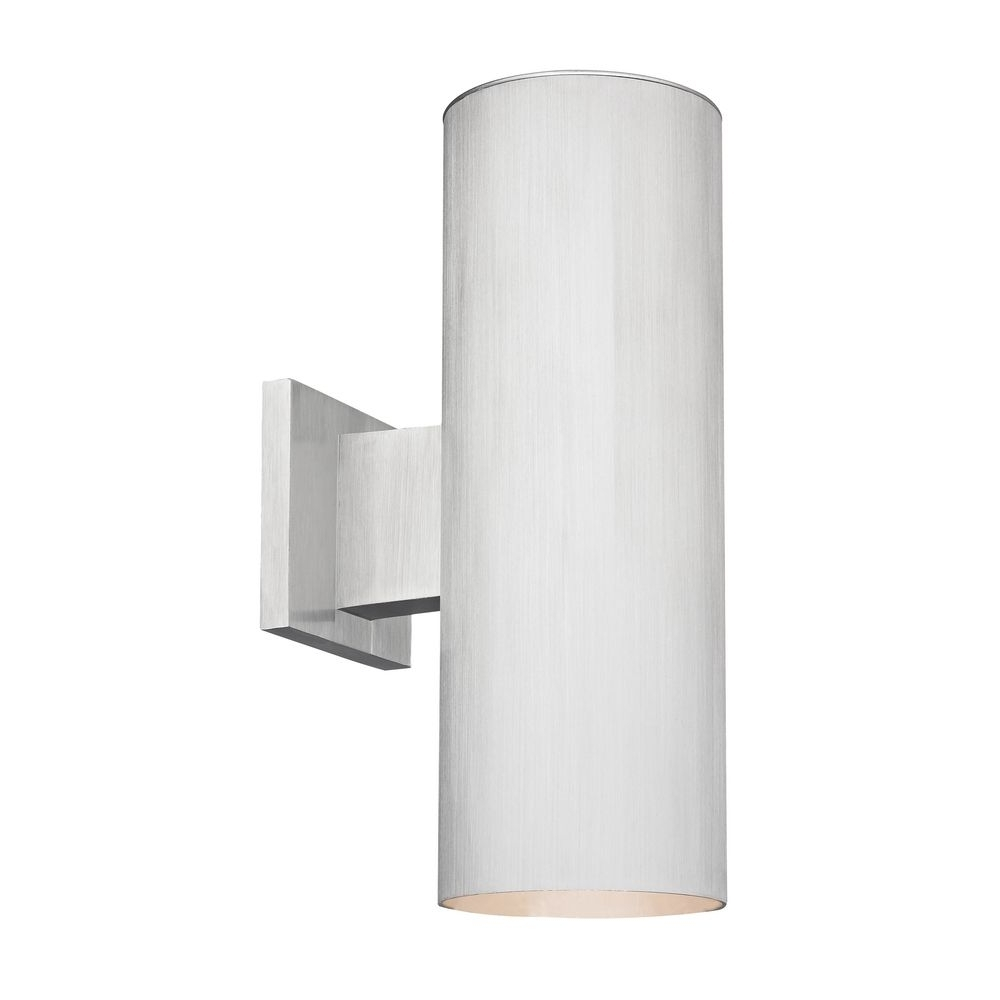 Most Recent Up And Down Outdoor Wall Lighting In Up / Down Cylinder Outdoor Wall Light In Brushed Aluminum Finish (View 8 of 20)