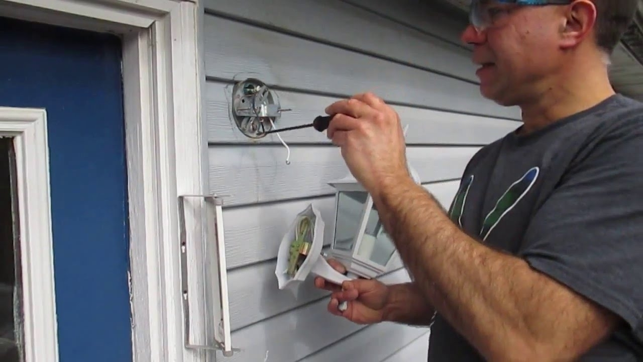 Most Recently Released Hanging Outdoor Lights On Vinyl Siding Within How To Replace An Outside Light – Youtube (View 5 of 20)