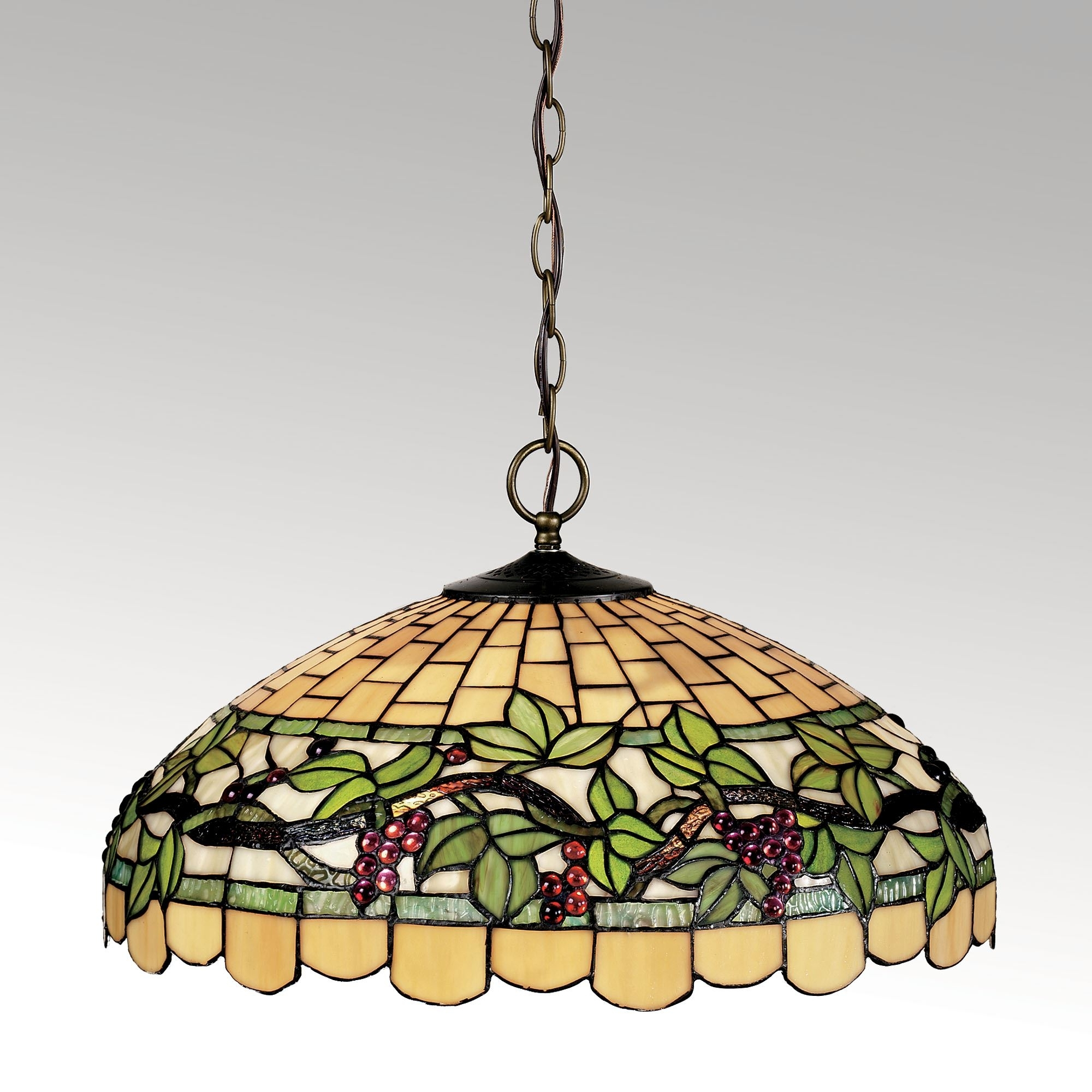 Most Recently Released Outdoor Hanging Grape Lights With Regard To Grapevine Breeze Stained Glass Hanging Lamp (View 10 of 20)