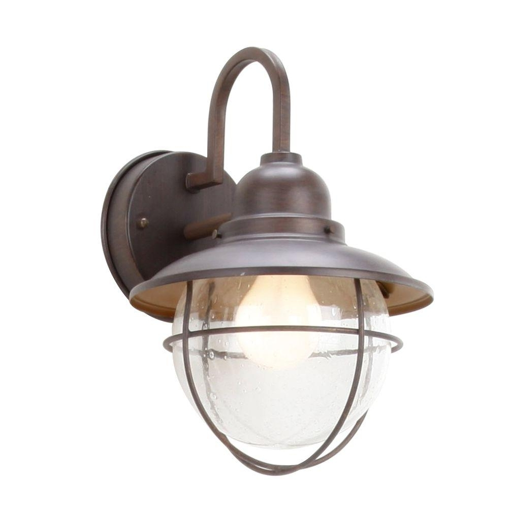 Most Recently Released Outdoor Wall Lighting At Home Depot With Regard To Hampton Bay 1 Light Brushed Nickel Outdoor Cottage Lantern Boa1691h (View 8 of 20)
