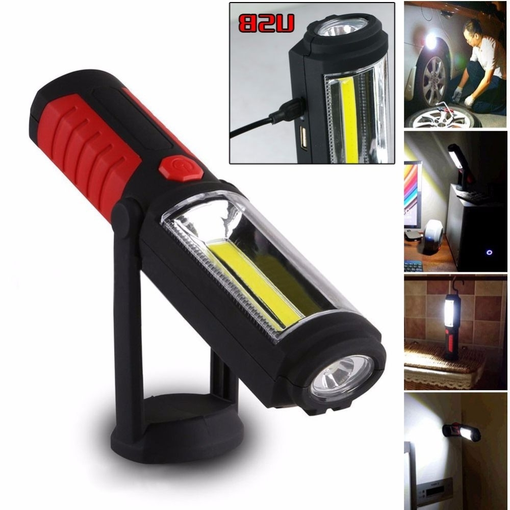 Most Recently Released Portable Usb Rechargeable Cob Led Flashlight Torch Work Light Stand With Regard To Outdoor Hanging Work Lights (View 14 of 20)