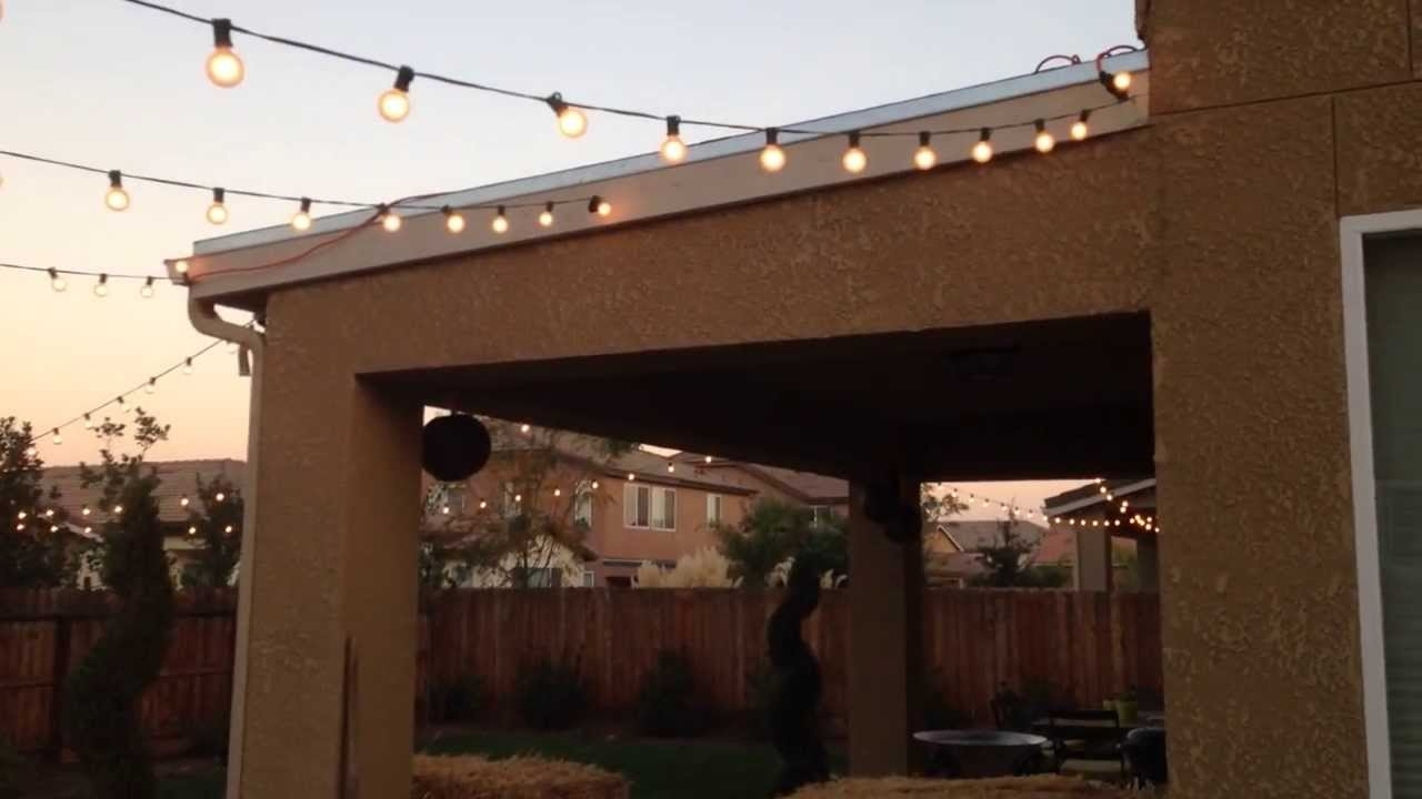 Most Up To Date Hanging Outdoor Lights On Fence In Homemade Out Door Lighting Patio Lighting – Youtube (View 18 of 20)