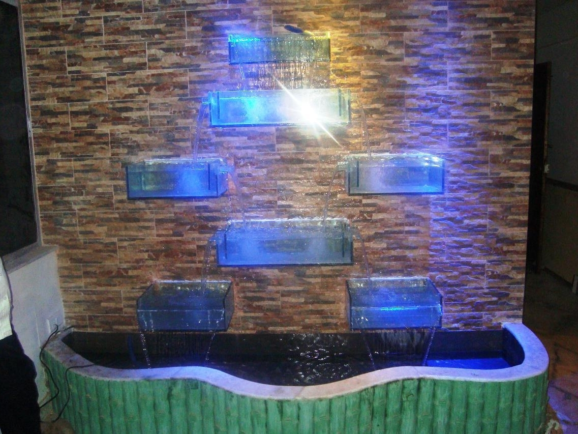 Most Up To Date Outdoor And Patio: Modern Wall Fountains With Glass Lighting Box With Outdoor Rock Wall Lighting (View 7 of 20)