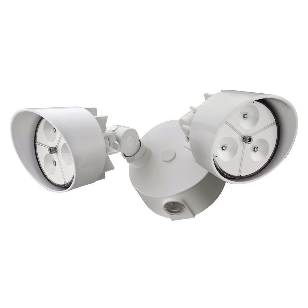 Most Up To Date Outdoor Ceiling Flood Lights Regarding Lithonia Lighting 2 Head White Outdoor Led Wall Mount Flood Light (View 2 of 20)