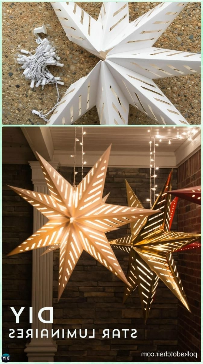 Most Up To Date Outdoor Hanging Ornament Lights Inside Diy Hanging Star Luminary Christmas Lights Instruction Diy (View 7 of 20)