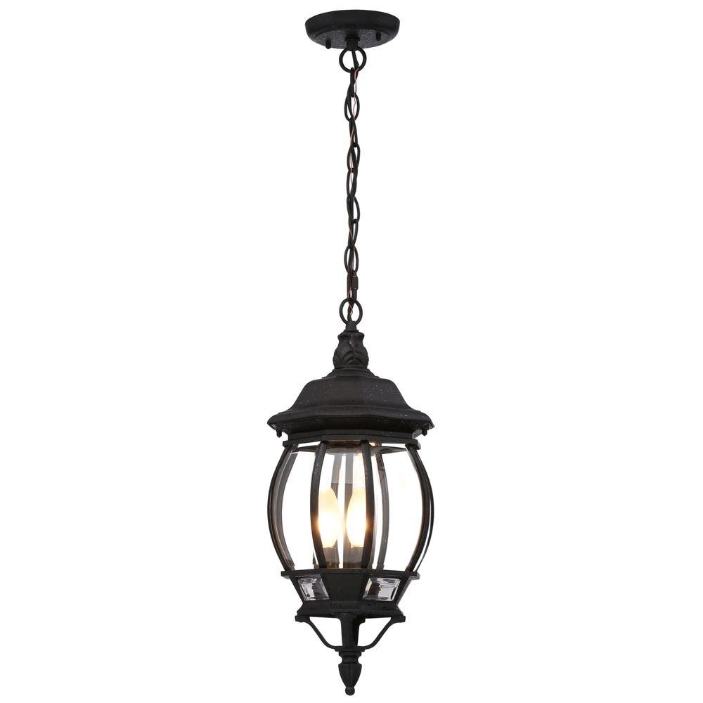 Most Up To Date Outdoor Hanging Porch Lights Regarding Glomar Concord 3 Light Textured Black Outdoor Hanging Lantern Hd (View 11 of 20)