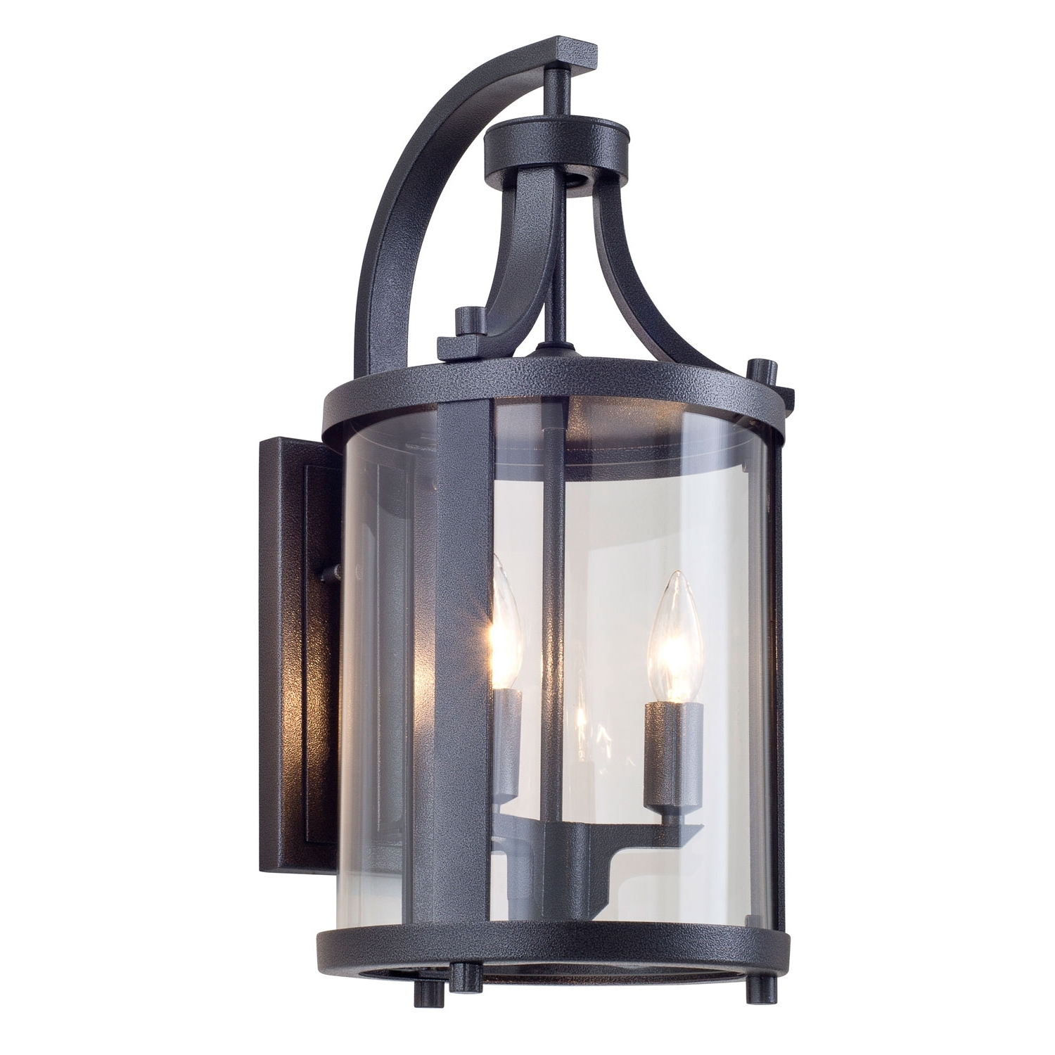 Most Up To Date Outdoor Wall Light Glass In Niagara Outdoor Hammered Black Two Light Outdoor Sconce Dvi Lighting (View 11 of 20)