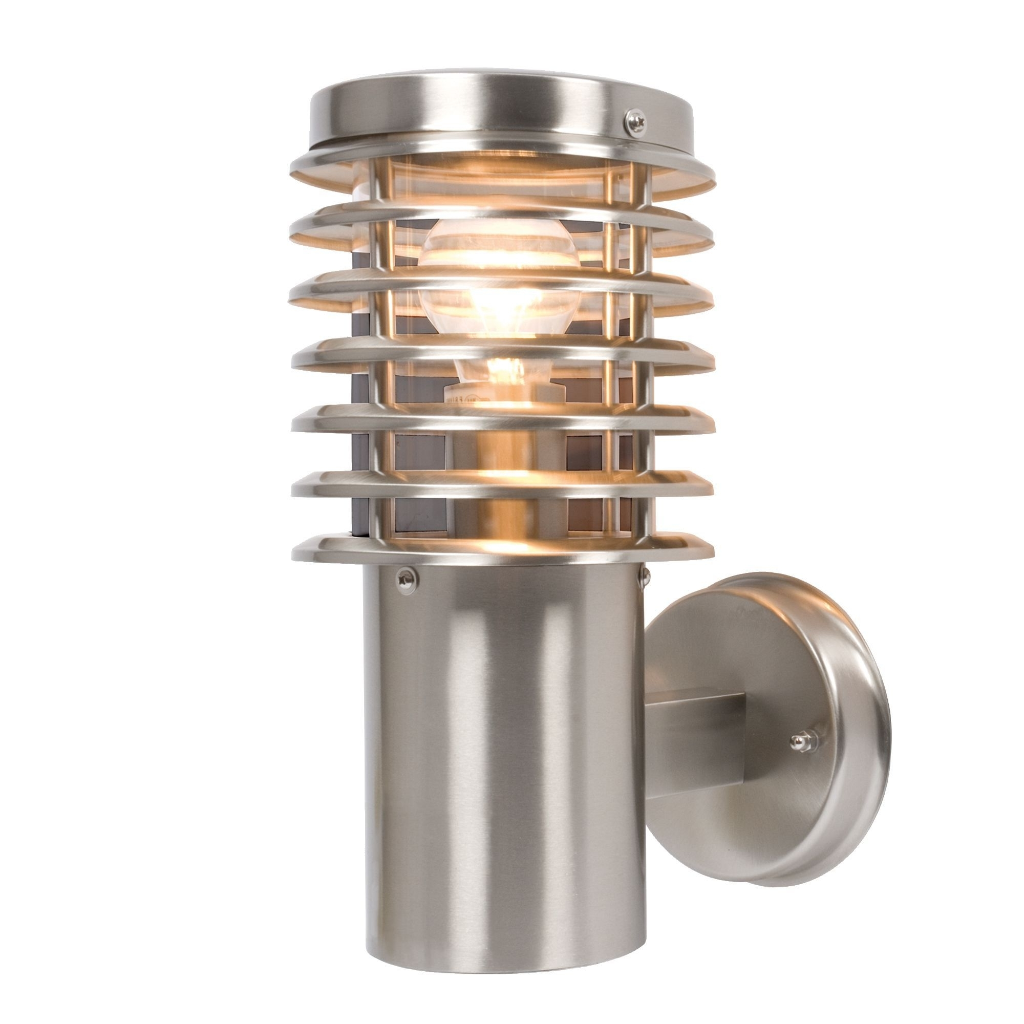Most Up To Date Outdoor Wall Lighting At B&q Within Clipper Stainless Steel Mains Powered External Wall Light (View 3 of 20)