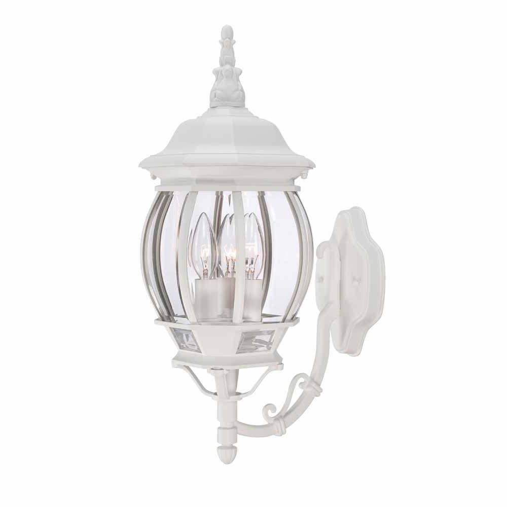 Most Up To Date White Outdoor Wall Lights Within Hampton Bay 3 Light White Outdoor Wall Lantern Hb7028 06 – The Home (View 14 of 20)