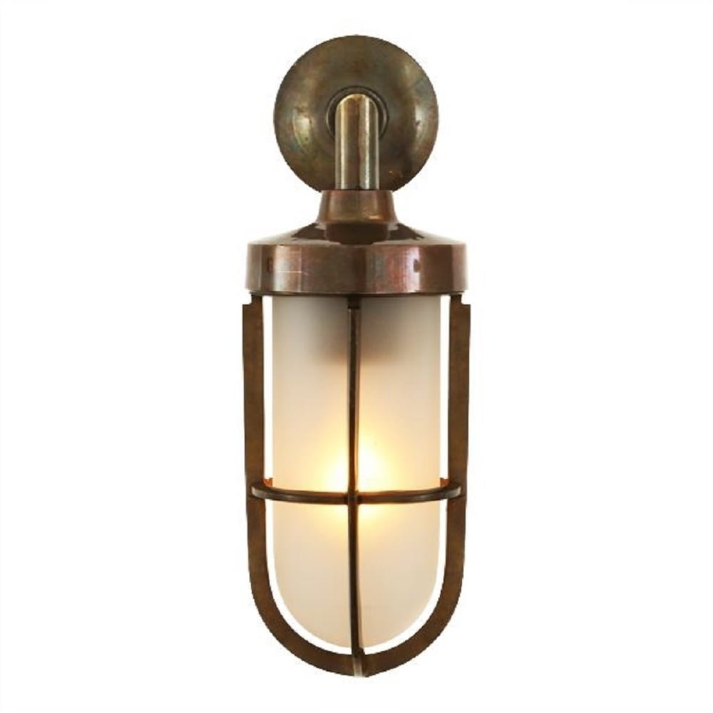 Nautical Design Solid Antique Brass Wall Light With Frosted Glass Shade For Most Recent Nautical Outdoor Wall Lighting (View 7 of 20)