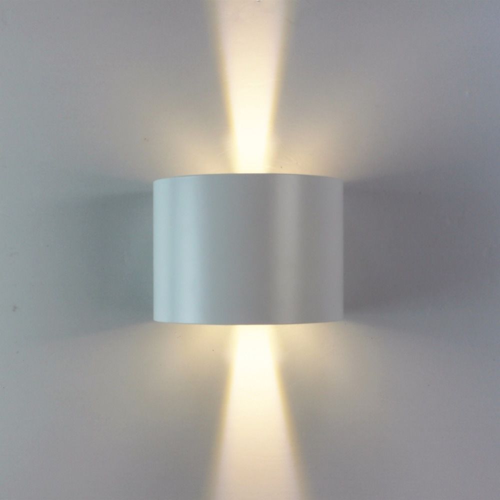 New Design Round Wall Sconce White Aluminum Up Down Lighting Indoor For Current Outdoor Wall Sconce Up Down Lighting (View 13 of 20)