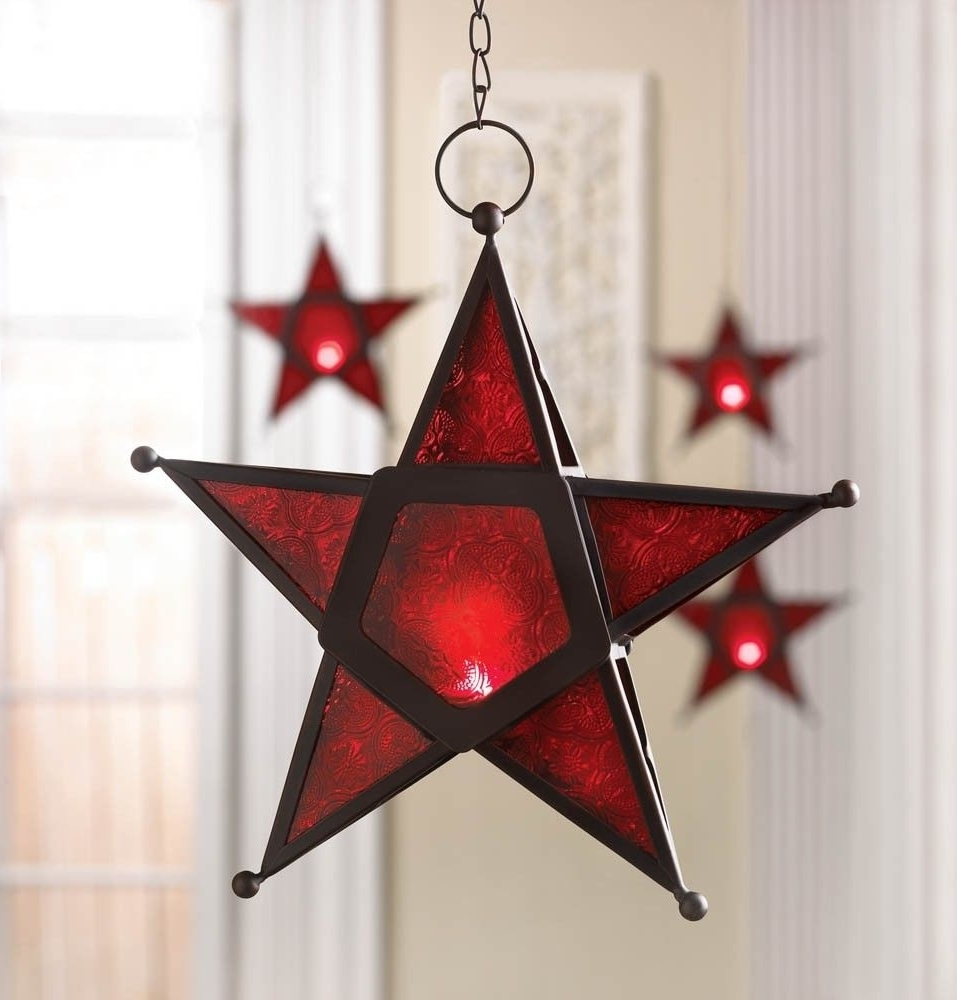 New Red Star Glass & Iron Candle Holder Lantern Lamp Indoors Outside Intended For 2018 Outdoor Hanging Star Lanterns (View 11 of 20)