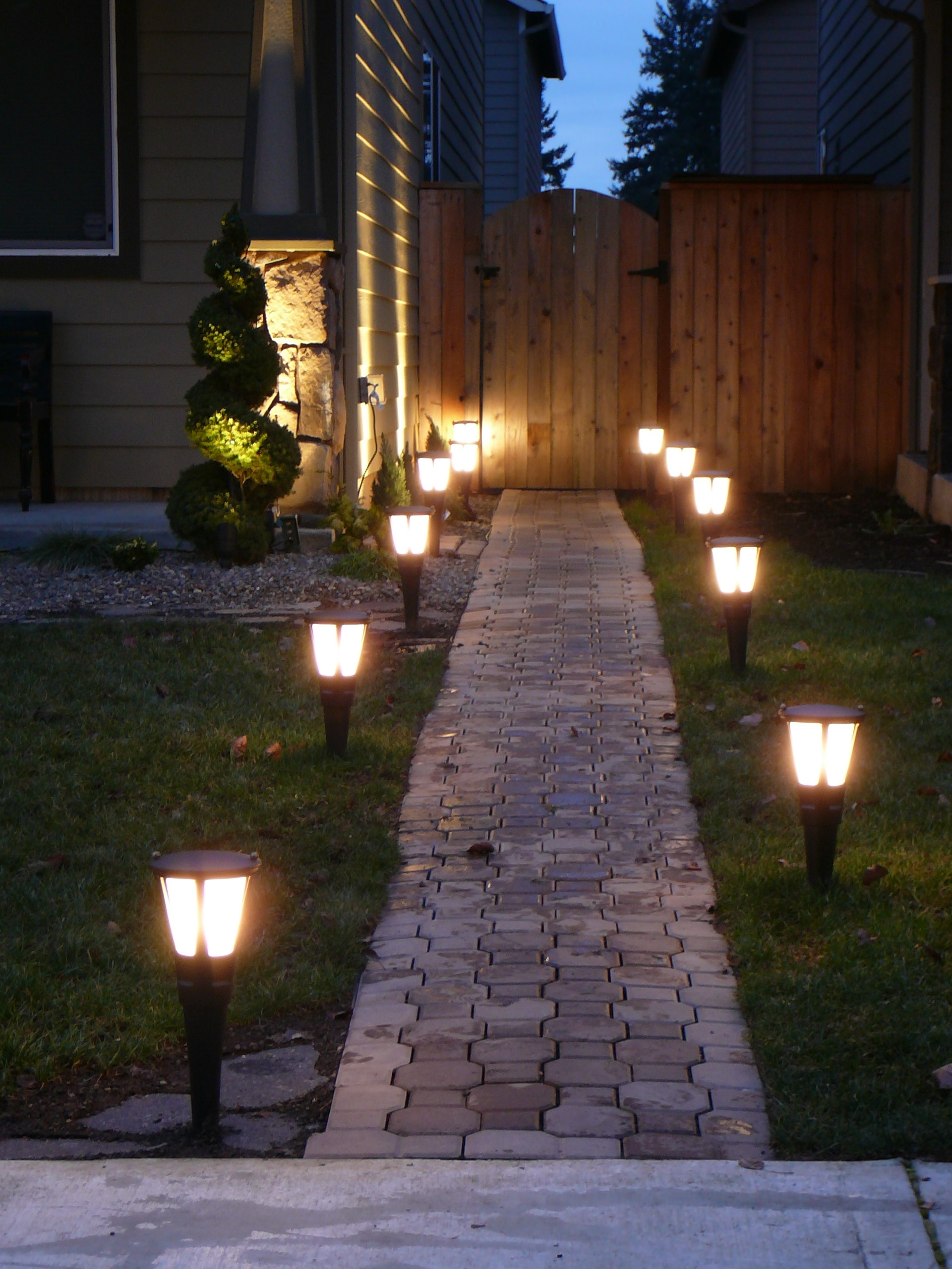 Newest Chic Conrete Brick Side Fresh Gass Closed Nice Armature Fit To Within Modern Landscape Lighting At Home Depot (View 18 of 20)