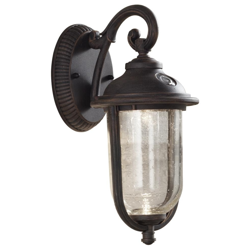Newest Dusk To Dawn Outdoor Wall Lighting Fixtures In Hampton Bay Perdido Rustic Bronze Outdoor Integrated Led 6 In (View 10 of 20)