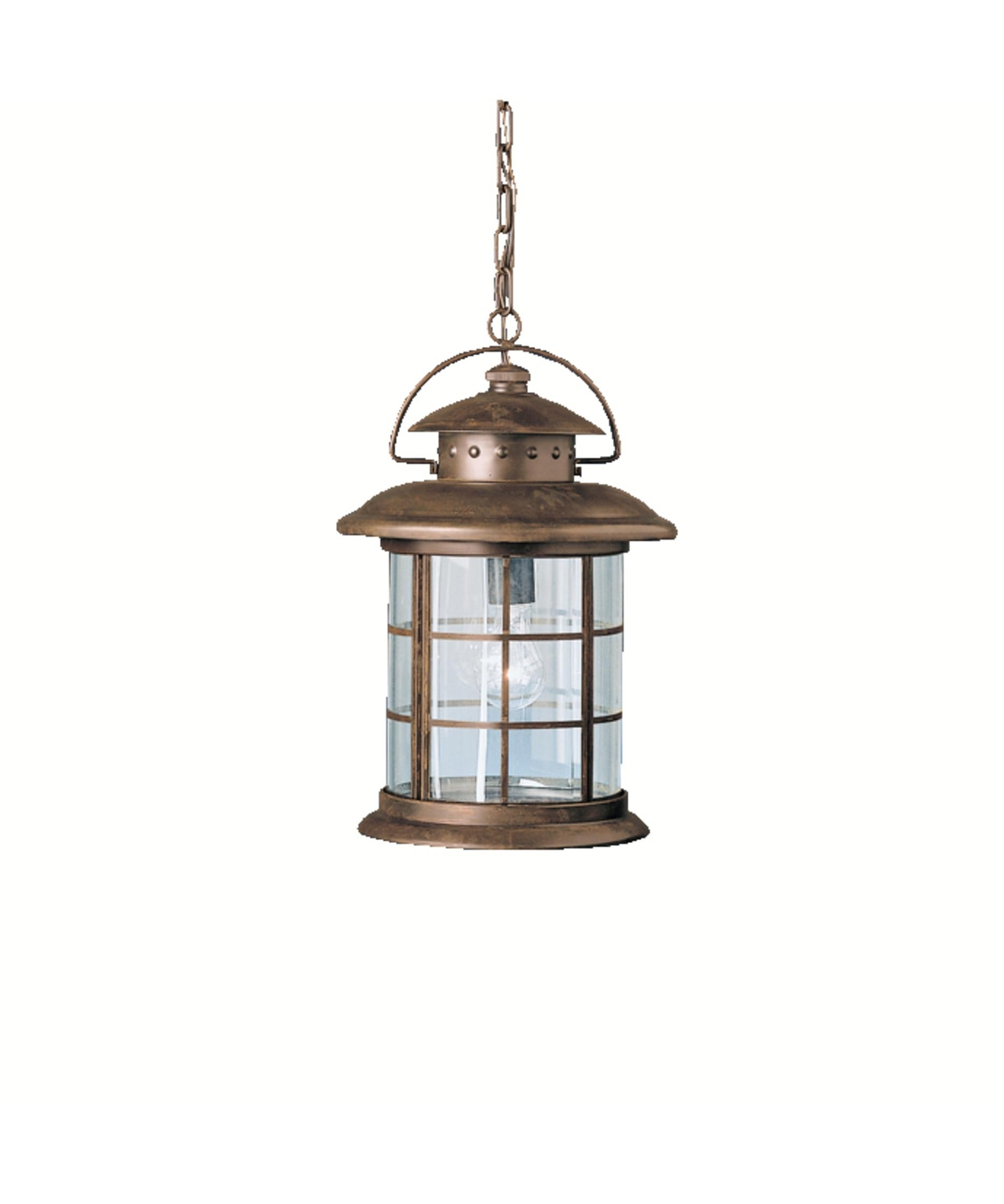 Newest Kichler 9870 Rustic 11 Inch Wide 1 Light Outdoor Hanging Lantern Pertaining To Kichler Outdoor Ceiling Lights (View 7 of 20)