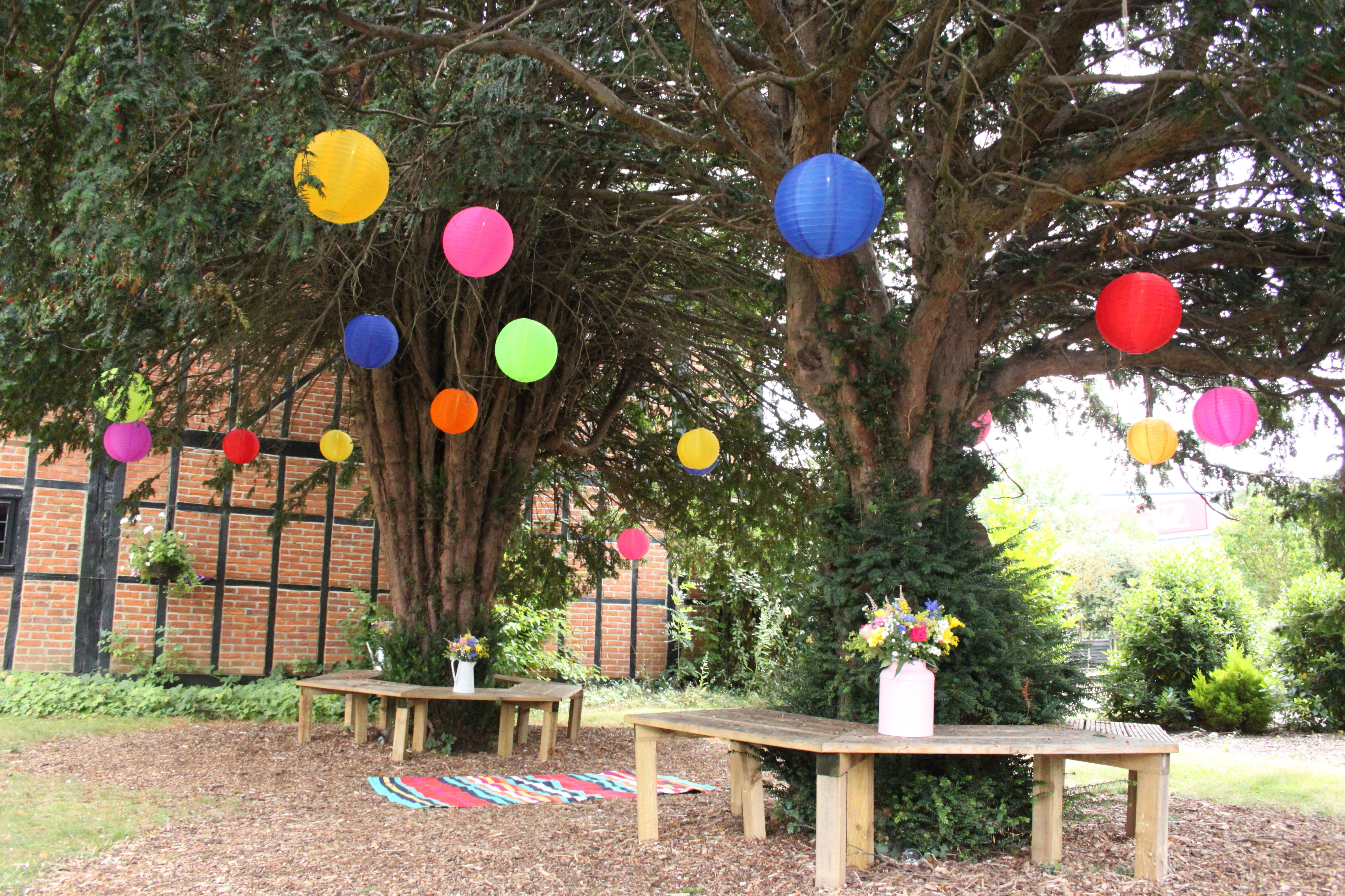 Newest Mad Hatters Outdoor Coloured Nylon Lanterns Hanging Randomly In The With Outdoor Hanging Lanterns For Trees (Gallery 16 of 20)