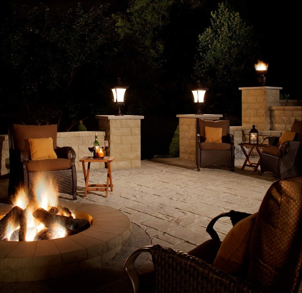 Newest Modern Patio Outdoor Light Fixtures For Patio Ideas: Outdoor Lamp For Patio With Wicker Patio Chairs And (View 10 of 20)