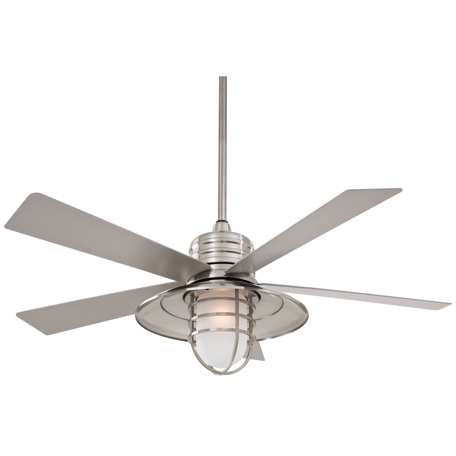 Newest Outdoor Ceiling Fans With Damp Rated Lights Inside Minka Aire Rainman Brushed Nickel 54 Inch Blade Indoor/outdoor (Gallery 1 of 20)