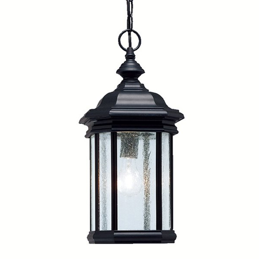 Newest Outdoor Hanging Lights At Lowes Pertaining To Shop Kichler Kirkwood 18 In Black Outdoor Pendant Light At Lowes (View 12 of 20)