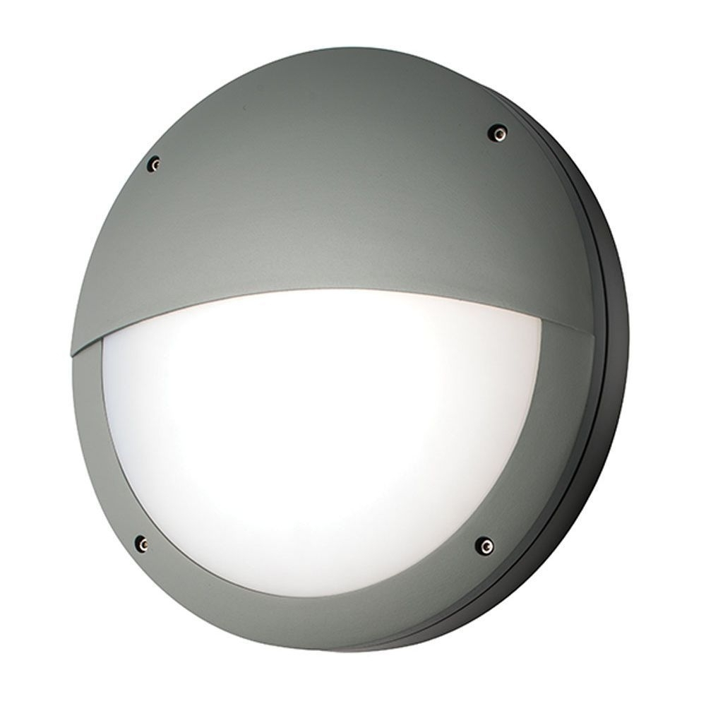 Newest Saxby 61754 Luik Eyelid Grey Aluminium Round Led Outdoor Wall Light Inside Ip65 Outdoor Wall Lights (View 17 of 20)