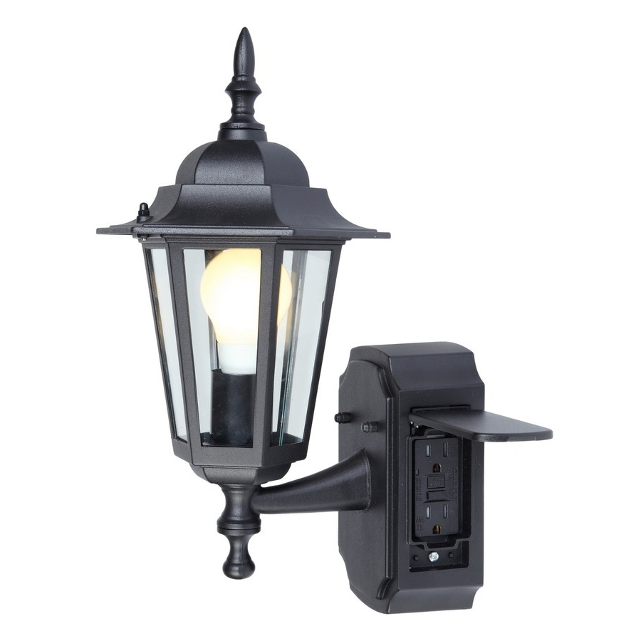 Newest Shop Portfolio Gfci 15.75 In H Black Outdoor Wall Light At Lowes In Outdoor Wall Lights With Receptacle (Gallery 3 of 20)