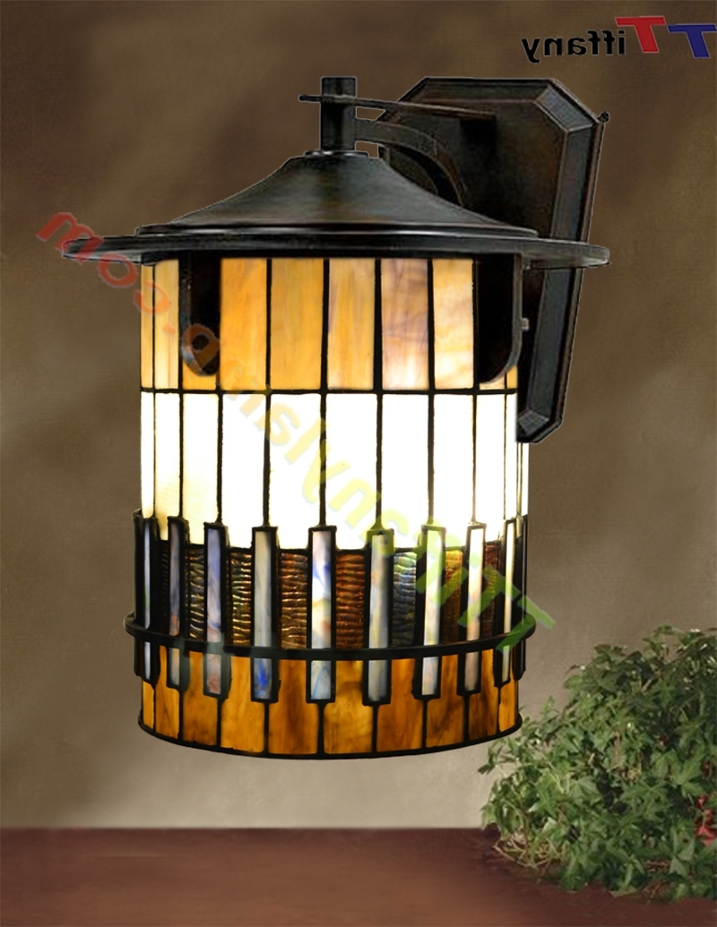Newest Stained Glass Outdoor Wall Lights Within Tiffany Autumn Ridge Outdoor Small Wall Lantern W00901 – Tiffany (Gallery 1 of 20)