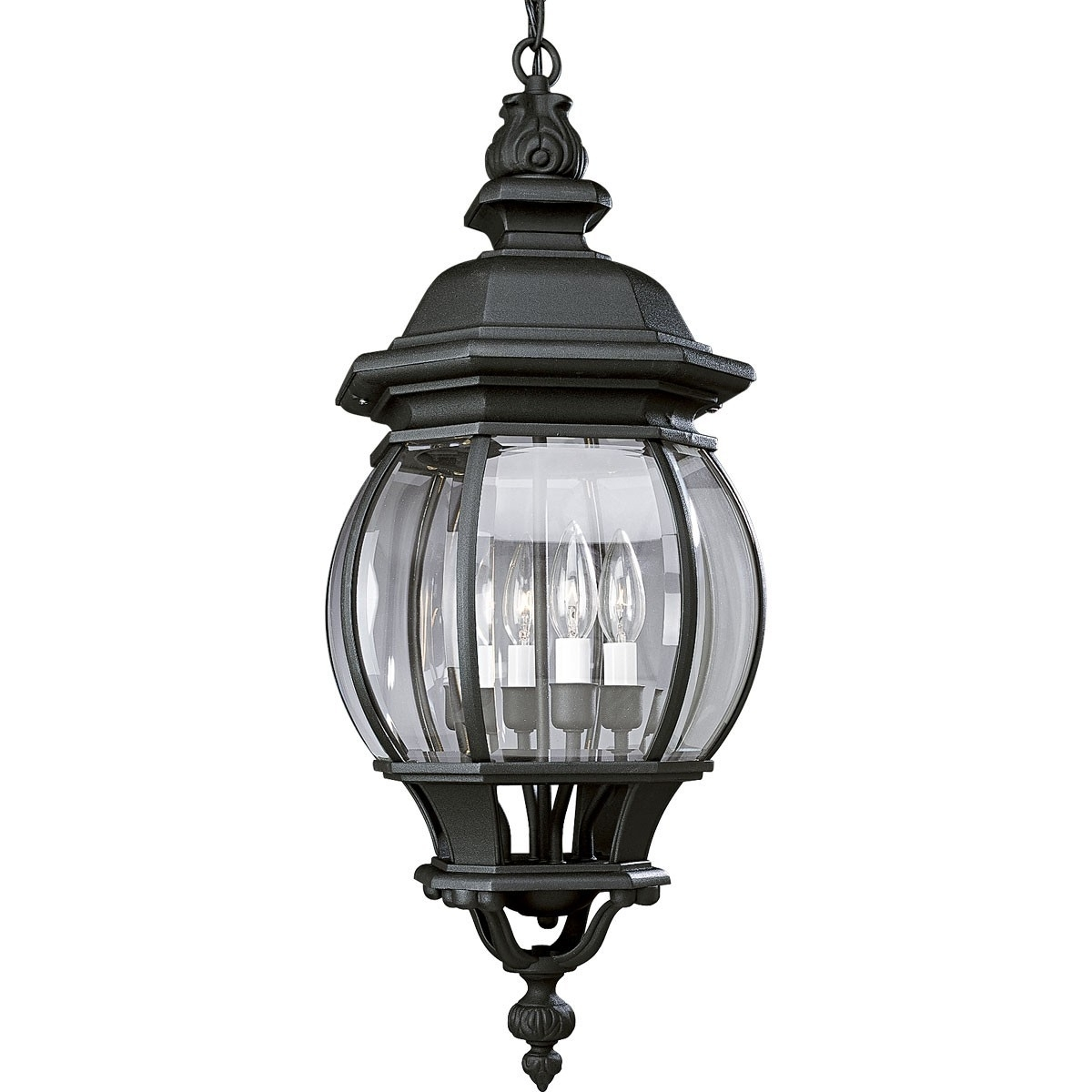 Newest White Outdoor Hanging Lanterns Regarding Onion Design Four Light Hanging Lantern With Clear Beveled Glass (View 14 of 20)