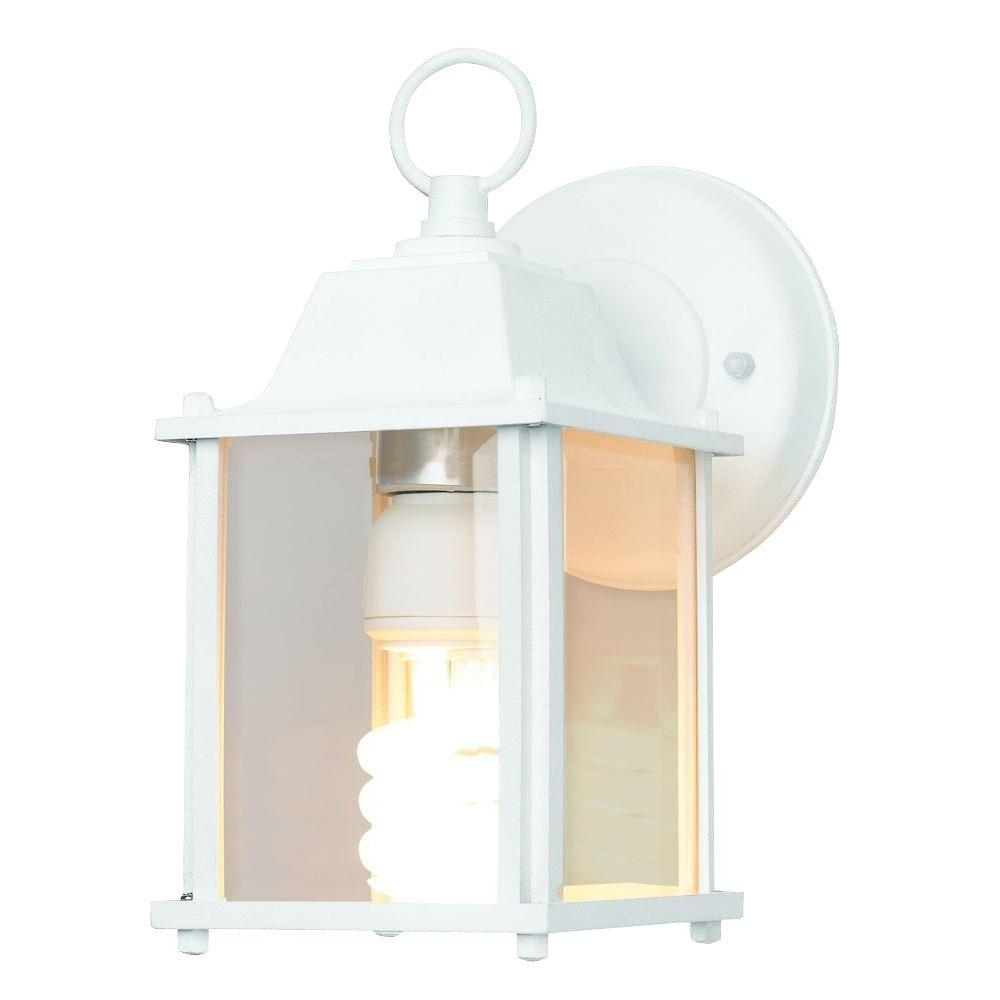 Newport Coastal 13 Watt White Cfl Square Porch Light With Bulb 7974 Regarding Most Popular Outdoor Wall Lights For Coastal Areas (View 10 of 20)