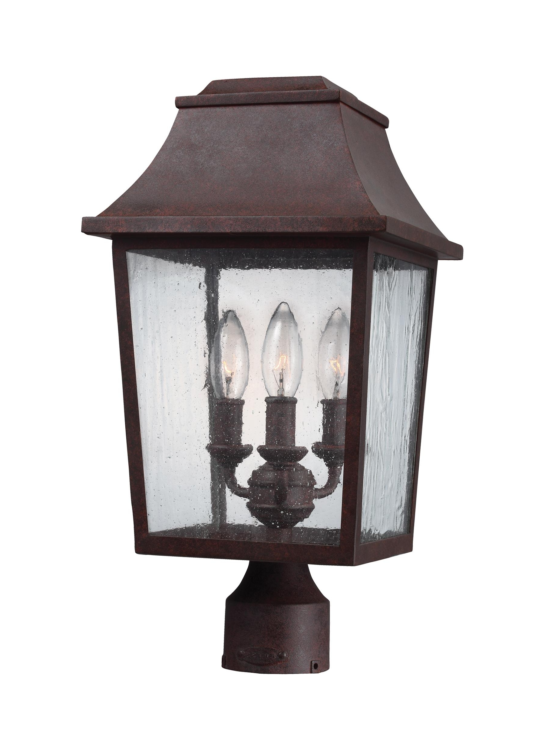 Ol11909Pcr,3 – Light Outdoor Post Lantern,patina Copper For Best And Newest Outdoor Wall And Post Lighting (View 11 of 20)