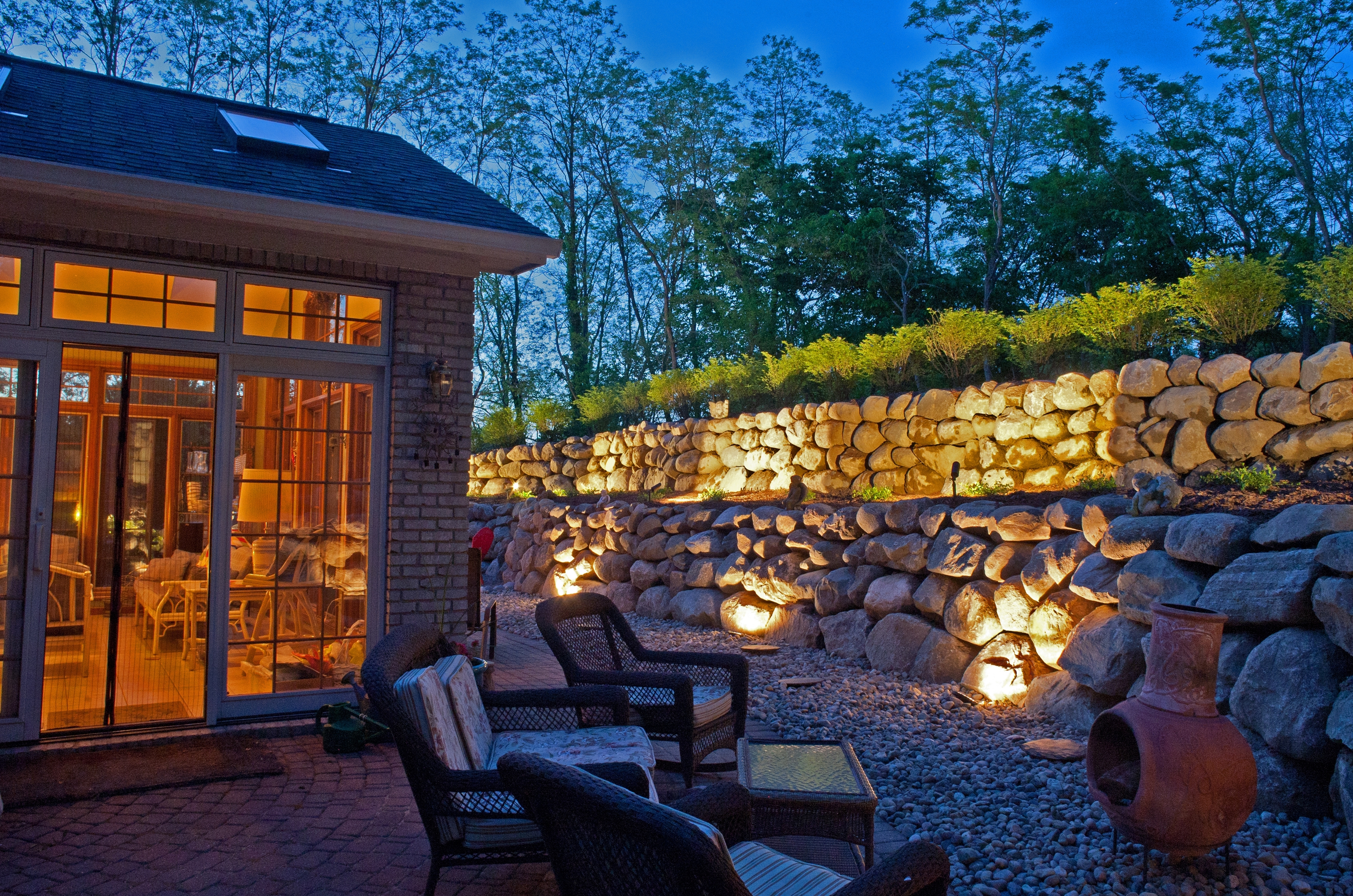 Outdoor Block Wall Lighting With Fashionable Todd's Services: Michigan Landscaping Company (View 11 of 20)