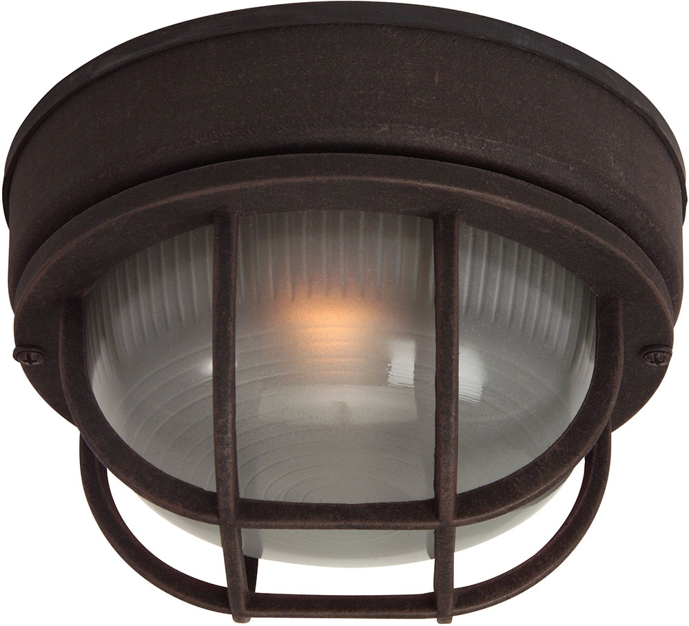 Outdoor Ceiling Bulkhead Lights Inside Newest Craftmade Z394 07 Bulkhead Rust Exterior Small Ceiling Light Fixture (View 13 of 20)