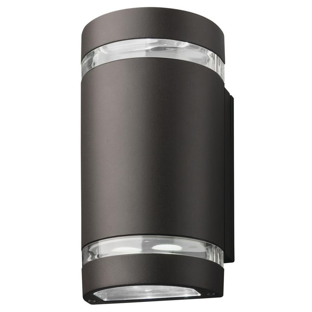 Outdoor Ceiling Downlights Throughout Well Known Lithonia Lighting 2 Light Wall Mount Outdoor Bronze Led Wall (View 13 of 20)