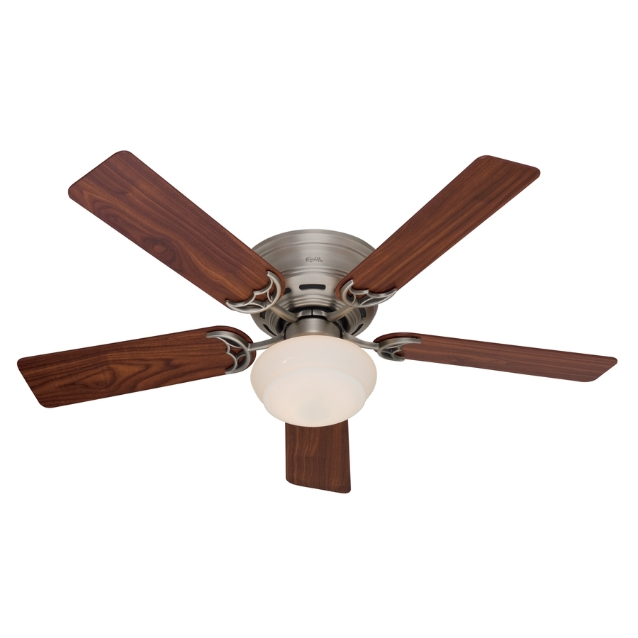 Outdoor Ceiling Fans With Flush Mount Lights With Widely Used Shop Hunter Low Profile Iii Plus 52 In Antique Pewter Indoor Flush (View 15 of 20)