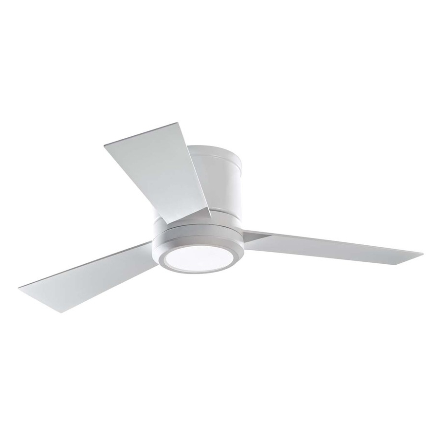 Outdoor Ceiling Fans With Led Lights Inside Trendy Shop Monte Carlo Fan Company Clarity 42 In Rubberized White Flush (View 17 of 20)