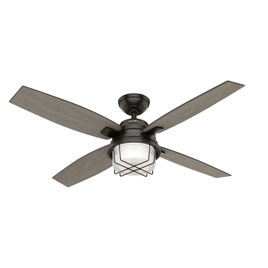 Outdoor Ceiling Fans With Lights Regarding Most Current Shop Hunter Ivy Creek 52 In Noble Bronze Indoor/outdoor Downrod Or (View 15 of 20)