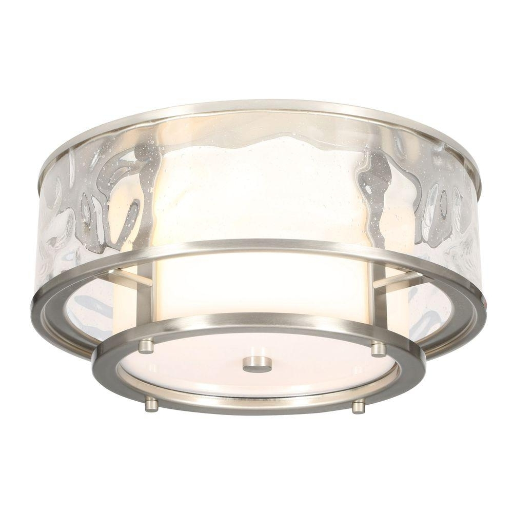 Outdoor Ceiling Flush Lights Pertaining To Most Current Progress Lighting Bay Court Collection 2 Light Brushed Nickel (View 17 of 20)